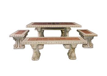 Bancos y mesas de piedra para jardín